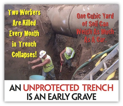 OSHA Poster, Two Workers are Killed Every Month in Trench Collapses!, One Cubic Yard of Soil Can Weigh as Much as a Car. An Unprotected Trench is an Early Grave.