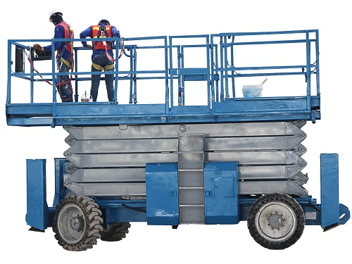 Lowered Scissor Lift With Two Painters Wearing Fall Protection