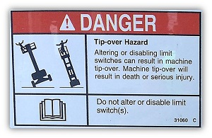 Danger Sticker on Scissor Lift Warning of Tip-over Hazard