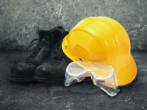 Work Boots, Hard Hat, Safety Goggles