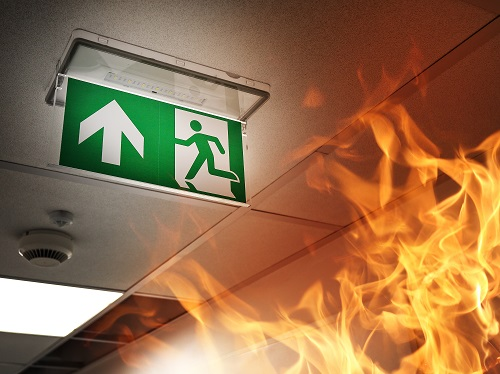 Fire in Office Building, Exit Sign Visible