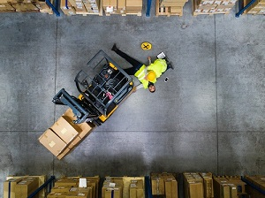Warehouse Forklift Incident, Man is Injured, Co-Worker is Helping