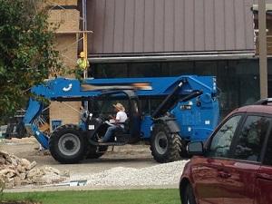 Large Forklift at Construction Site