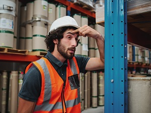 Warehouse Worker Feeling Poorly at Work