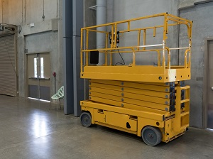 Scissor Lift Stored Indoors, Not in Use
