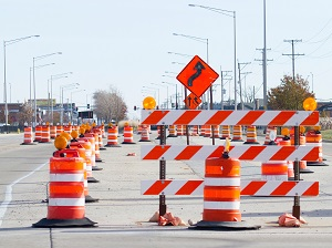 Barricades in Work Zone