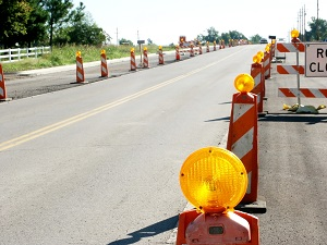 Work Zone Barricades on Street