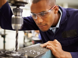 Industrial Worker Wearing Safety Glasses