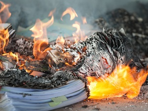 Office Papers Burning