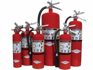 Dry Chemical Fire Extinguishers in Various Sizes