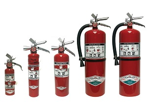 Clean Agent Fire Extinguishers in Various Sizes