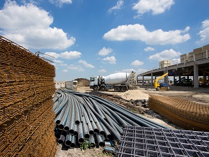 Materials like Pipe and Rebar at Construction Site
