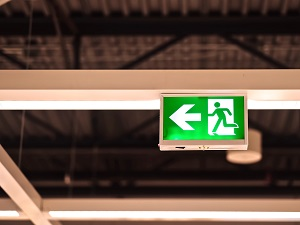 Exit Sign in Warehouse