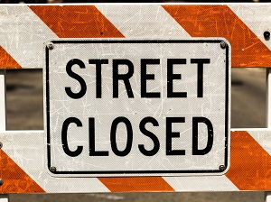 Street Closed Barrier Sign