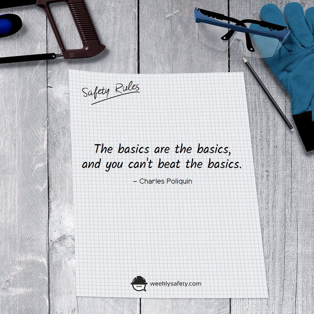 The words The basics are the basics, and you can't beat the basics. by Charles Poliquin written on a grid lined paper.