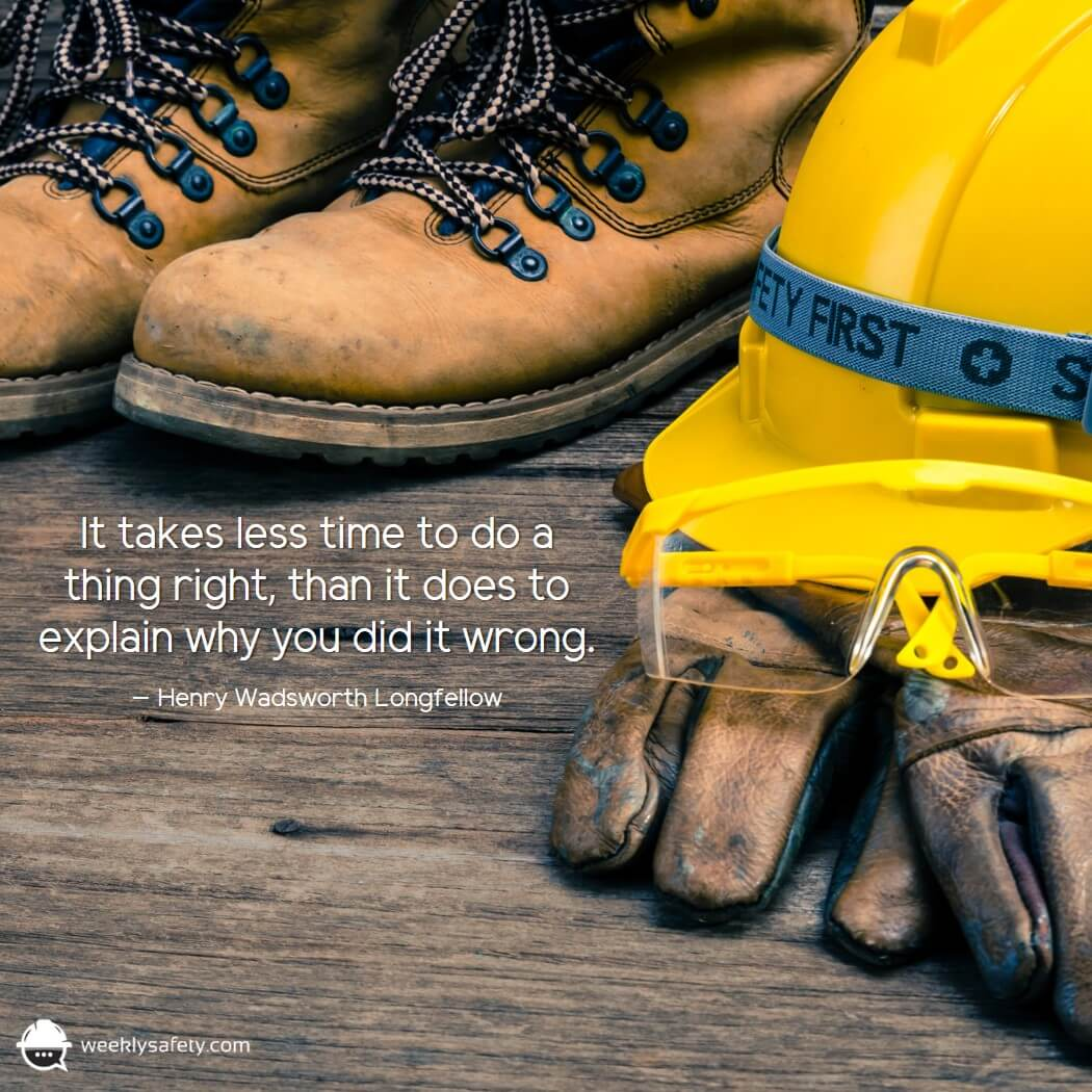Work boots, yellow hard hat, dirty work gloves