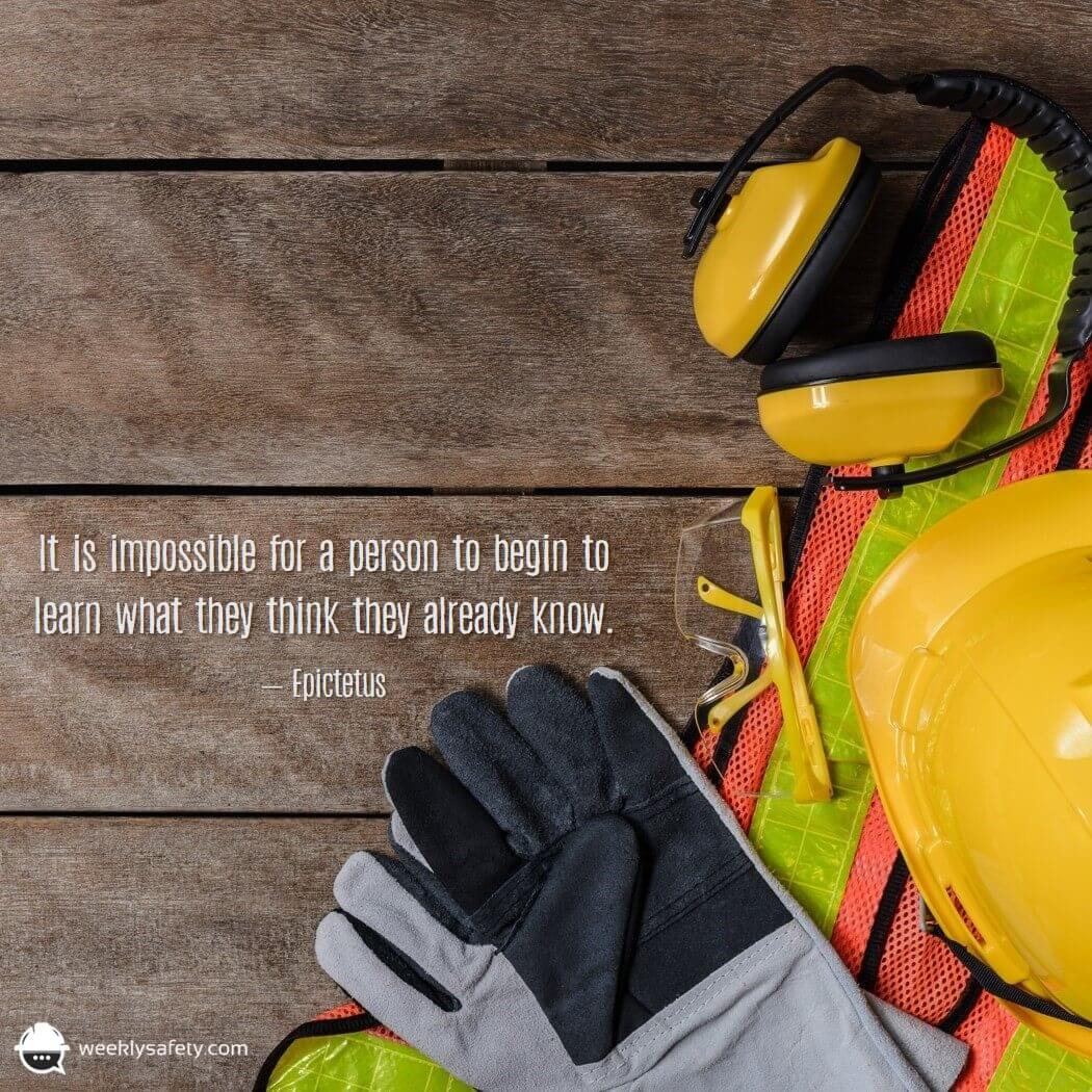 Hardwood floor, work gloves, hard hat, ear protection, safety vest.