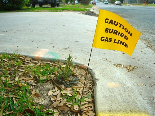 Buried Gas Line Yellow Utility Flag