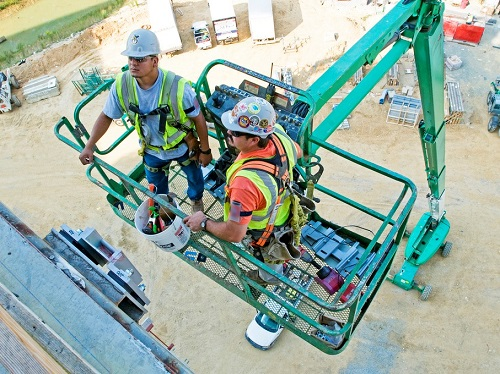 Two Workers on a Aerial Lift Working at Heights