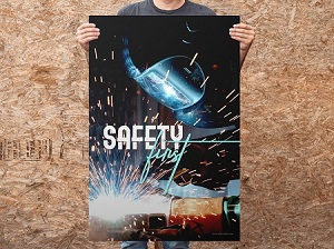 Man Holding Welding Safety Poster