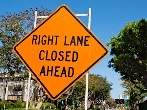 Right Lane Closed Ahead Traffic Warning Sign