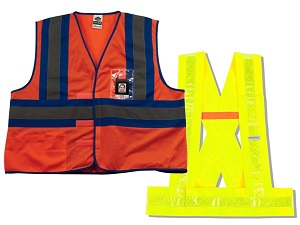 A vest and sash that are examples of Type O Class 1 HVSA