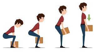 Graphic that shows the correct way to lift a box by bending at the knees.