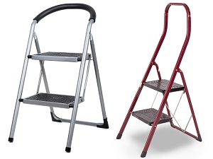 Two versions of step stools, each with two steps.
