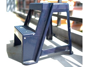 Step stool with two steps that is not foldable.