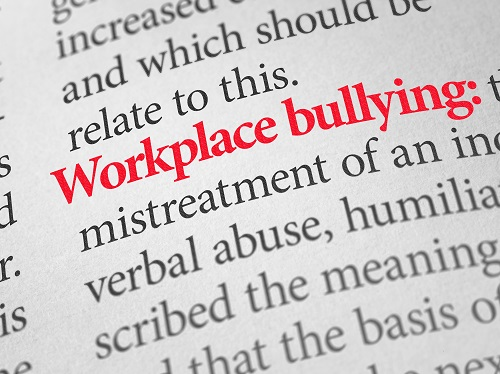 Page from dictionary showing definition of workplace bullying.
