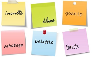 Post-it notes with words on them like insults, blame and gossip.
