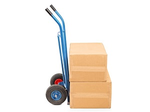 Hand truck with two boxes on it.