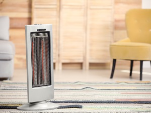 Small space heater inside a living room.