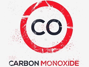 A graphic with the symbol for Carbon Monoxide.