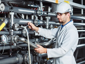 Industrial Worker in Manufacturing Facility