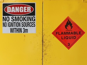 Flammable Liquid Cabinet with a Danger Side on the Front