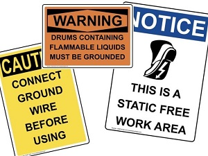 Caution and Warning Signs for Static Electricity