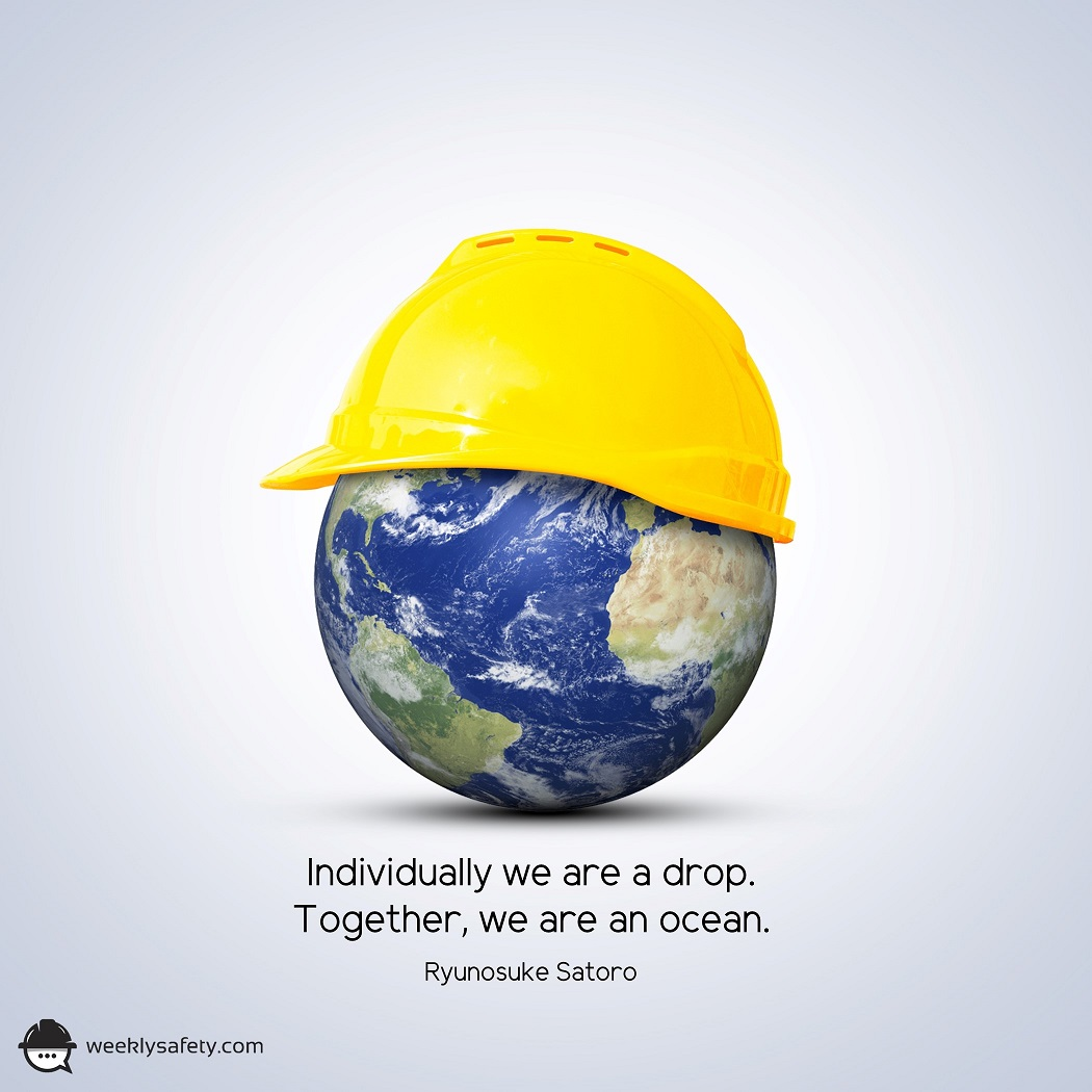 Planet Earth with a yellow hardhat.