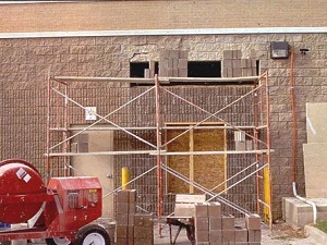 Supported scaffolds on a construction site.