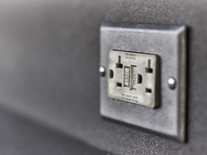 A GFCI in a wall socket.