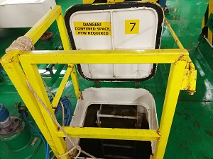 Entry to a confined space with a danger sign visible.