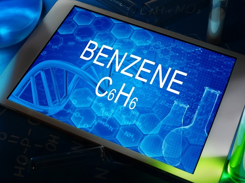 A digital tablet that has the word Benzene displayed.