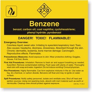 Benzene chemical card listing safety hazard, first aid procedures, fire procedures and spill procedures.
