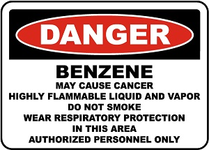 Danger Sign for Benzene that can be displayed in the work area.