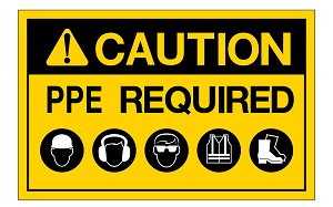 Caution PPE Required Sign