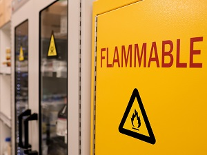 Flammable hazards safety cabinet inside a lab.