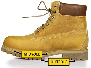A work boot with the midsole and outsole indicated.