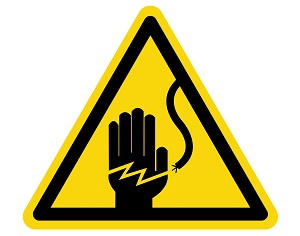 The universal symbol for electrical hazards in a yellow triangle.