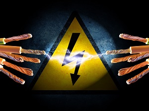 Graphic representation of electrical shock with warning sign and exposed wires.