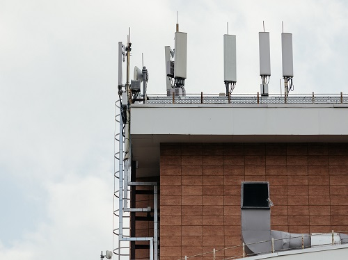 Cell phone antennas on a roof top.
